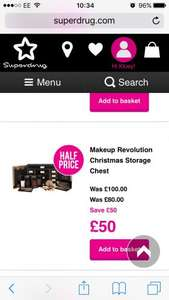 Make Up Revolution Christmas Storage Chest was £100 now £50 @ Superdrug