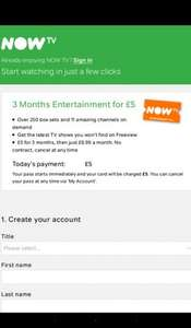 Now tv entertainment pass 3 months for £5 direct with Sky