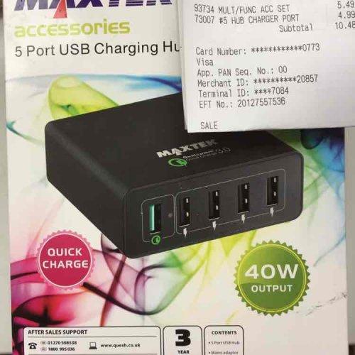 ALDI Maxtek 40W USB 3.0 Quick Charge Hub - £4.99 instore @ ALDI