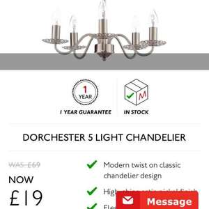 Matalan Black Friday Gear Up. 5 light chandelier was £69 now £19