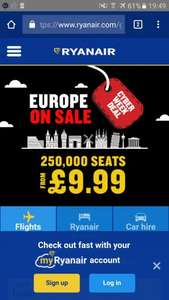 Cyber Week Ryanair Europe from £9.99
