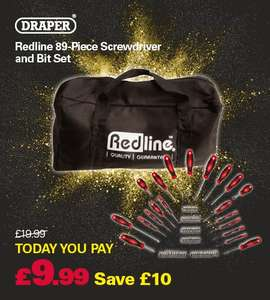 Draper Redline 89-Piece Screwdriver and Bit Set with bag now £9.99 @ Robert Dyas (Free C&C)
