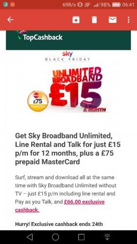 Sky unlimited Broadband & line rental £15 month + TCB