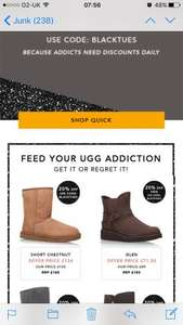 Extra 20% off uggs at shoeaholics using code BLACKTUES