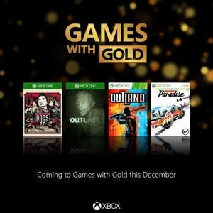 Games with Gold December (XO - Sleeping Dogs: Definitive Edition, Outlast / X360 - Outland, Burnout Paradise)
