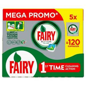 Fairy Platinum Dishwasher Capsules 5 x 24 per pack =120 tablets for £15 at Morrisons