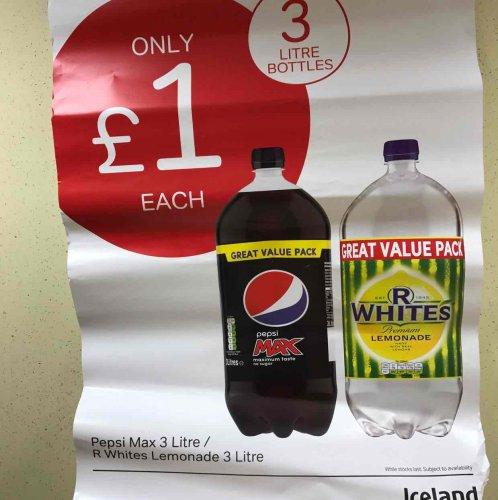 3 litre Pepsi max and R Whites Lemonade 3 litre £1 ICELAND