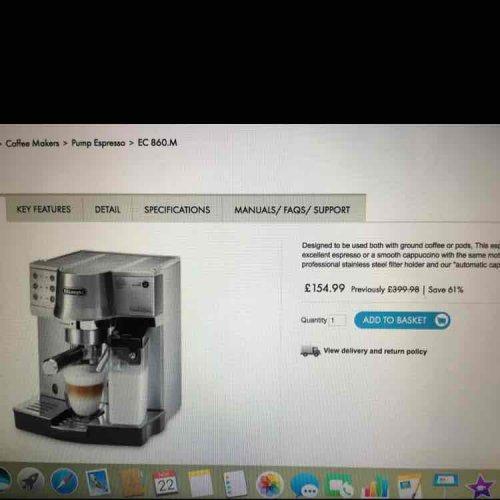 De'Longhi Coffee Machine EC 860.M £154.99 @ De'Longhi