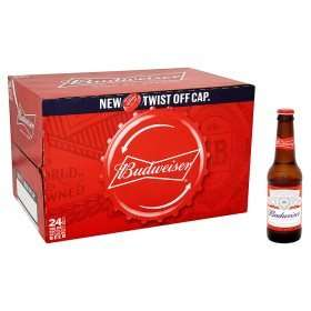 Budweiser Lager 24 x 300ml Bottles - online and instore at Asda only £10