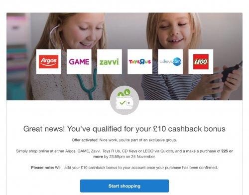 £10 Quidco cashback bonus - Argos, Game, Zavvi, ToysRus, cdkeys & LEGO £25.00