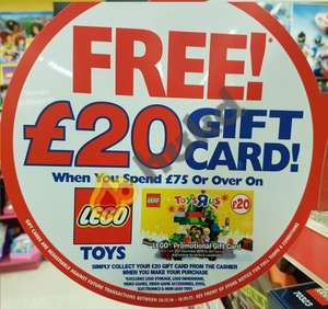 Free £20 Gift Card with a £75 spend on Lego @ Toys R Us