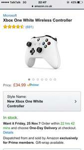 Xbox one bluetooth wireless controller (white or blue) 34.99 (exclusive to prime members) amazon