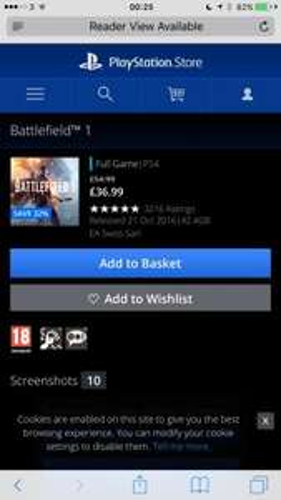 Battlefield 1 £36.99 @ PSN Store