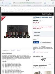 No7 Beauty Haul Colour Vault Was £75 Now £42.50 at Boots