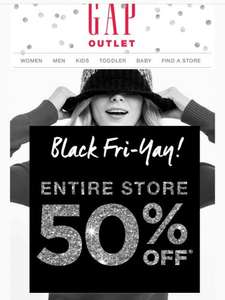 50% off @ GAP outlet. Instore only.