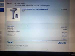 Lumea Advanced IPL - SC1999/00  Hair removal device £165 philips shop  plus 13.2% quidco