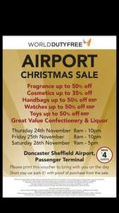 Duty Free Christmas Sale  - upto 50% off fragrances and booze @ World Duty Free (Doncaster)