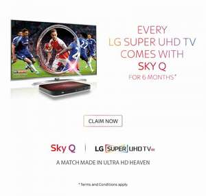 Sky Q Free for 6 and 12 months when buying LG 4K and LG 4k OLED 4K TVs