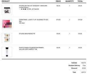 smashbox cosmetics approx £100 of items for £20.75. see pic. use SAVE5 for £5 off a £25 spend