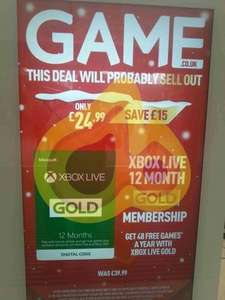 XBox Live - 12 Month £24.99 @ Game Instore and now online