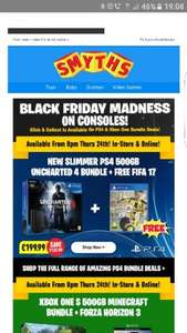 Smyths - new slim ps4 500gb uncharted 4 bundle and free fifa 17 £199.99 instore @ Smyths