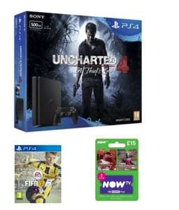 PS4 Slim 500gb Uncharted 4 Bundle with FIFA 17 and NOW TV 2 Month Sky Cinema Pass @GAME