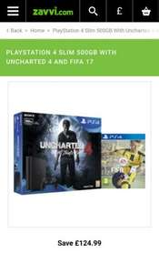 PlayStation 4 Slim 500GB with Uncharted 4 and FIFA 17 Games Consoles | Zavvi.com £199