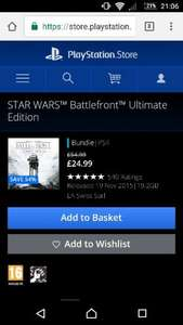 star wars Battlefront Ultimate Edition (download) ps4 £24.99 @ PSN