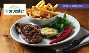 Steak, Slow-Cooked Ribs or Chicken Meal with Wine and Unlimited Salad for Two at Harvester - £16 WITH CODE - Groupon