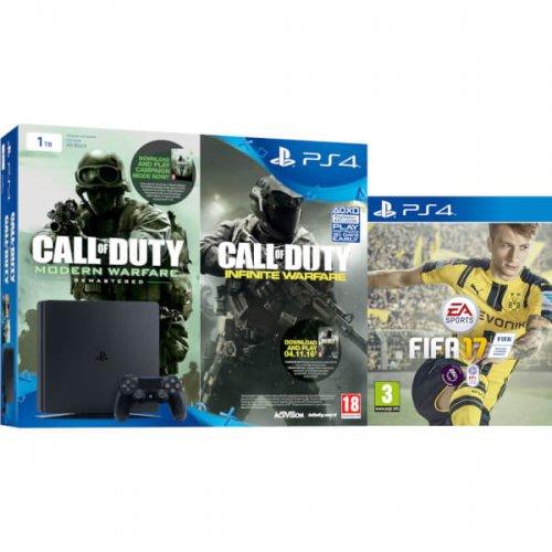 PlayStation 4 Slim 1TB with Call of Duty: Infinite Warfare & Modern Warfare Remastered and FIFA 17 £249 - Zavvi
