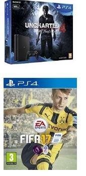 Sony PlayStation 4 500GB + Uncharted 4 + FIFA 17 £199 @ Amazon