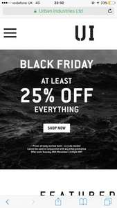 At least 25% off everything @ Urban industry