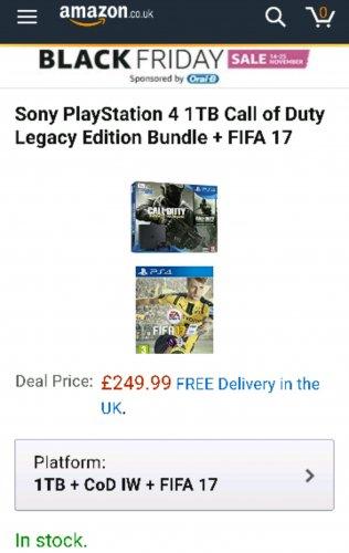 PS4 1TB IW LEGACY + FIFA 17 £250 @ Amazon