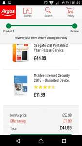 Seagate 2TB Portable 2 Year Rescue Service with free McAfee Internet Security 2016 - Unlimited Device £44.99 @ Argos
