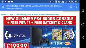 Ps4 500gb Slim with Fifa 17 and Rachet & Crank £199.99 @ Smiths Toys