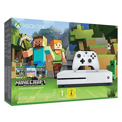 Microsoft Xbox One S Console, 500GB, with Minecraft Bundle