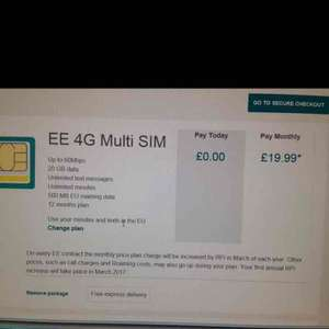 EE sim only 12 month 20gb data unlimited minutes/text