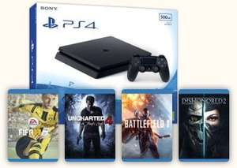 PS4 Slim 500GB + UC4, FIFA 17, Battlefield 1, Dishonored 2 @ Tesco Direct