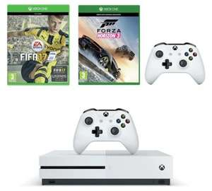 Xbox One S 500GB console with FIFA 17, Forza Horizon 3, and additional controller TESCO