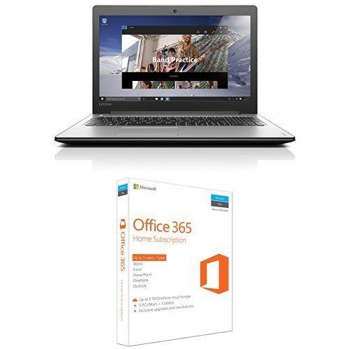 Lenovo Ideapad 310 15.6-Inch Notebook (Intel Core i3-6100U 2.3 GHz, 8 GB RAM, 1 TB HDD, Windows 10) Black/Silver + Office 365 Home (5 users, 1 year) £299.99 Amazon UK