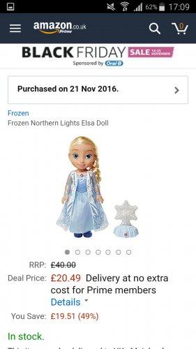 Disney Frozen Northern Lights Elsa doll at Amazon - £20.49