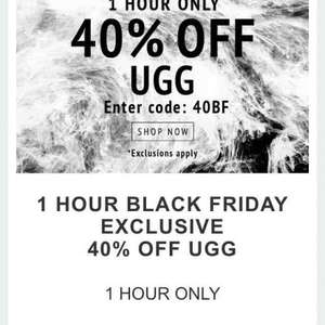 40% off on Uggs at Coggles 1 HOUR ONLY BE QUICK