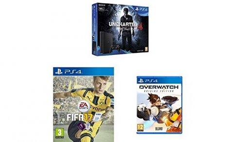 Sony PlayStation 4 500GB Uncharted 4 Bundle + FIFA 17 + Overwatch (PS4) £219.99 @ AMAZON