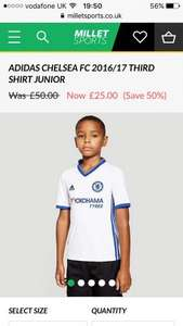 Chelsea 3rd shirt 16/17 children's and men's reduced to £25.00 at millet sports