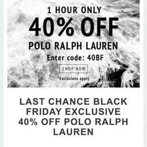 QUICK 1 HOUR ONLY - 40% OFF RALPH LAUREN AT COGGLES.COM  CODE: 40BF