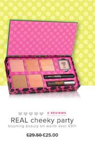 BENEFIT REAL cheeky partyblushing beauty kit worth over £97!originally £29.50 reduced to £25 Extra 20% with code below and £1.99 post and packaging get X2 free samples