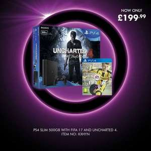 PlayStation 4Slim 500Gb Black Console With Uncharted 4 : A Thief's End And FIFA 17 - £199 @ Littlewoods