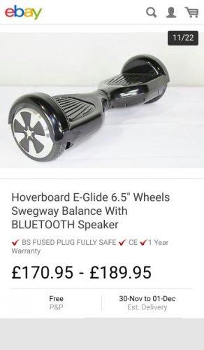 "Hoverboard E-Glide 6.5"" Wheels Swegway Balance With BLUETOOTH Speaker £170.95| eBay / marshallandgilbydiscounts"