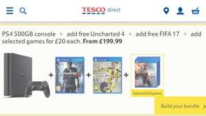 PS4 500GB, Uncharted 4 & Fifa 17 for £199 + Add game for £20 each (potentially £183.99 for ps4/Fifa/uncharted) Tesco