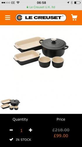 Lecreuset starter kit black £99 lecreuset